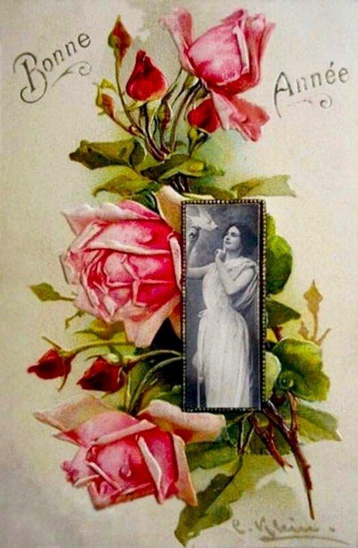 К. Кляйн. С Новым годом ! Розы и девушка с голубем.