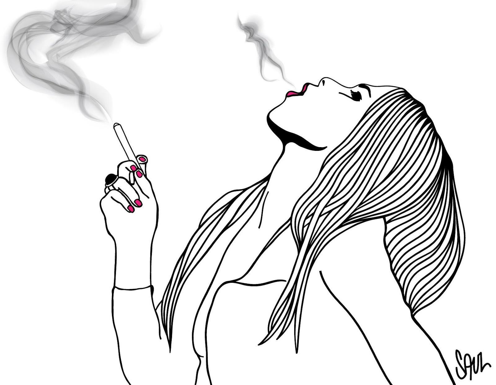Девушки с сигаретами рисунок