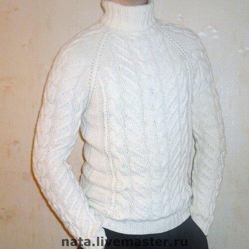 Белый пуловер с косами доставка