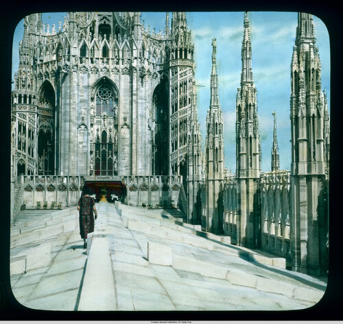 Milan. Cathedral (Duomo): roof detail, walkway along the roof ridge
