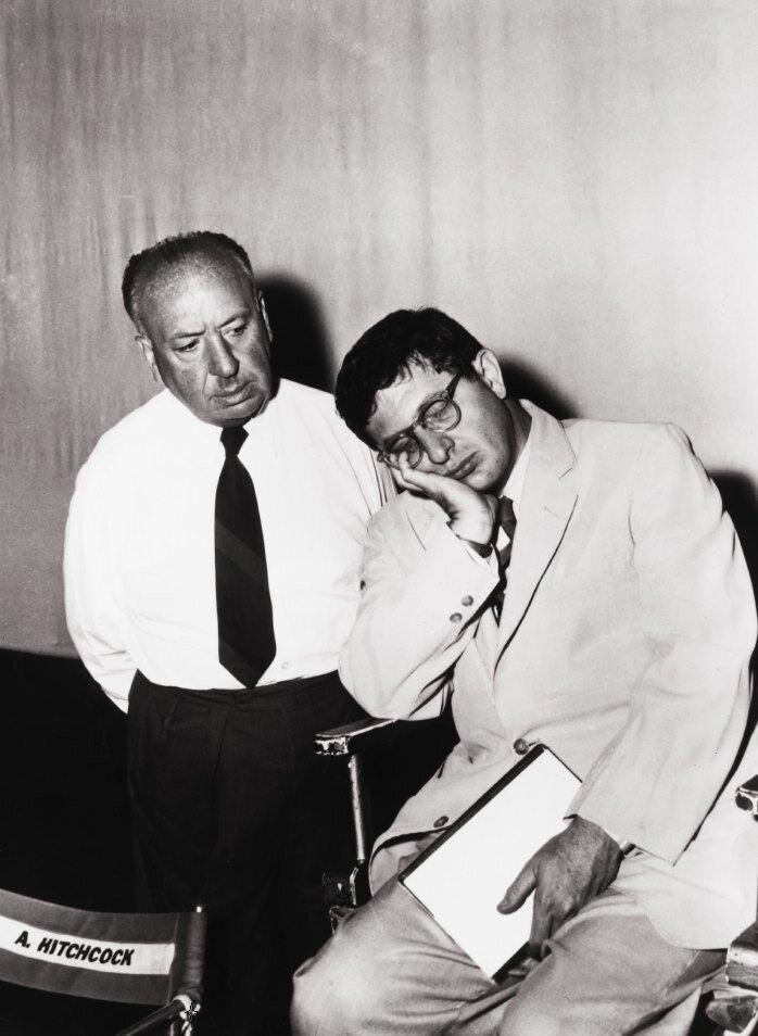 Alfred Hitchcock & Bernard Herrmann on the set of Psycho (1960)