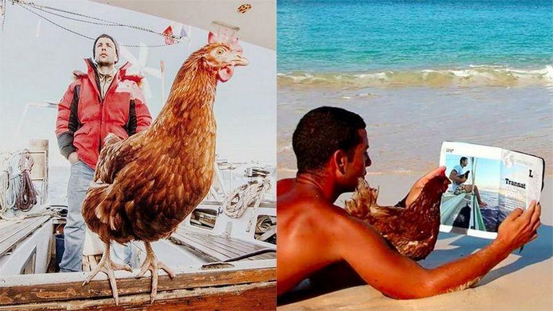 Француз путешествует на яхте с курицей