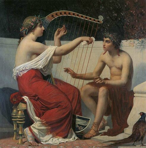 Каллиопа, обучающая Орфея