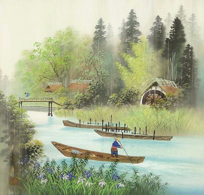 Картины на шелке сансуй / художник Koukei Kojima
