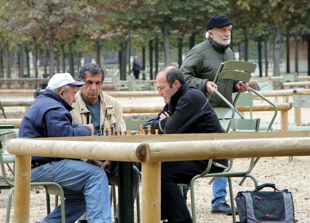 Autumn Paris. Luxembourg garden. Chessplayers