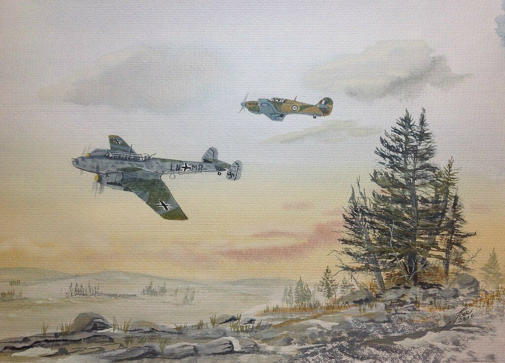 West of Murmansk two of B flight , 81 Sqdn. Sighted an Me110, getting off a few shots Bush chased the enemy at low level, but it escaped.