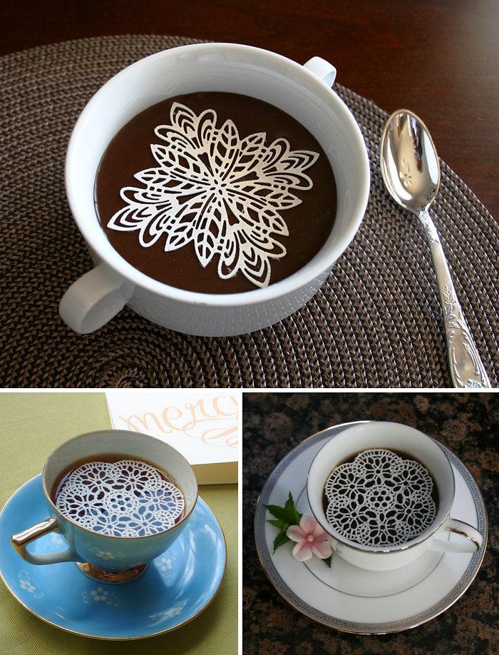 Съедобные сахарные « салфетки » для кофе.