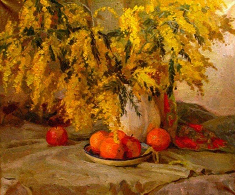 Соколова Александра Ивановна (род. 1980) Натюрморт с мимозой 2006 г..jpg
