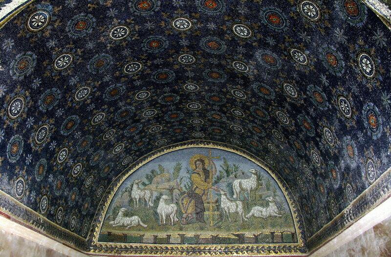 """Мозаика """"Христос - Добрый Пастырь""""."""