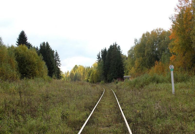 Знак С у платформы Ивановские казармы (358 км), перегон Весьегонск - Овинище-2