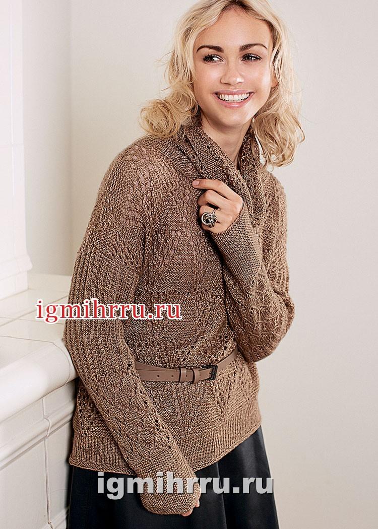 Ажурный пуловер с драпирующимся воротником. Вязание спицами