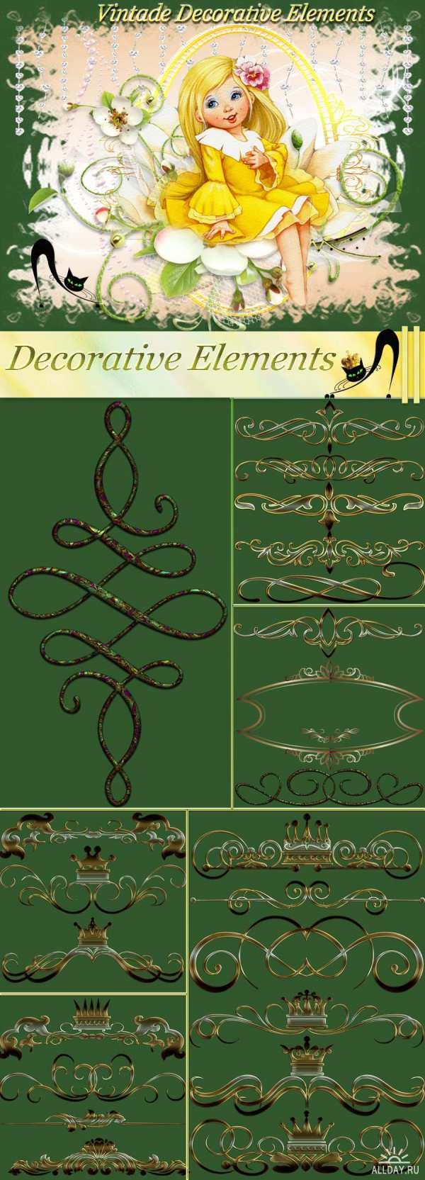 Винтажные декоративные элементы - Клипарт PNG