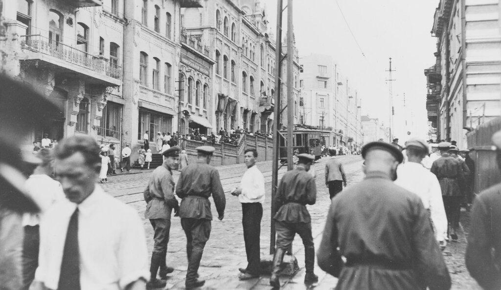 Vladivostok, U.S.S.R. Street scene, circa July 1937, during U.S. naval visit to that port.
