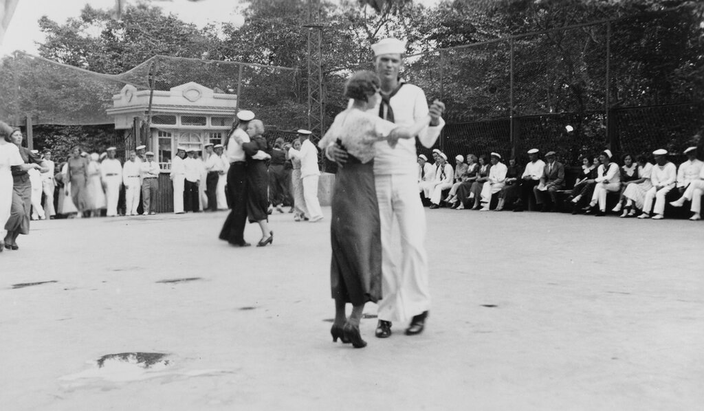 Vladivostok, U.S.S.R. U.S. sailor dancing at Soviet Navy recreation center, during U.S. naval squadron's visit to that port in late July 1937.