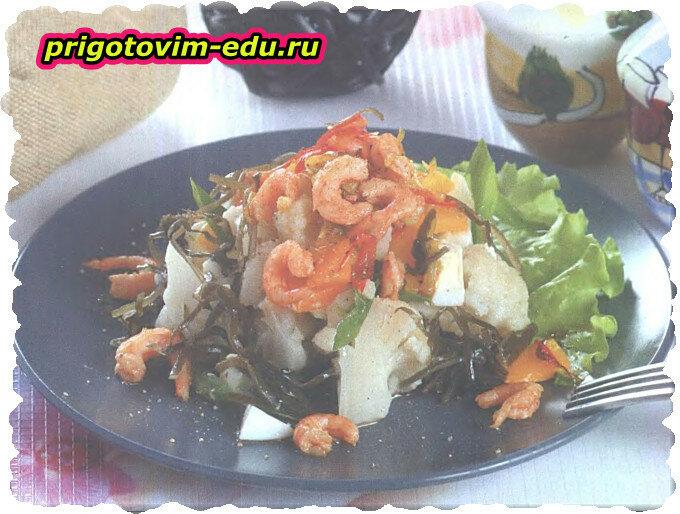 Салат из цветной капусты с креветками