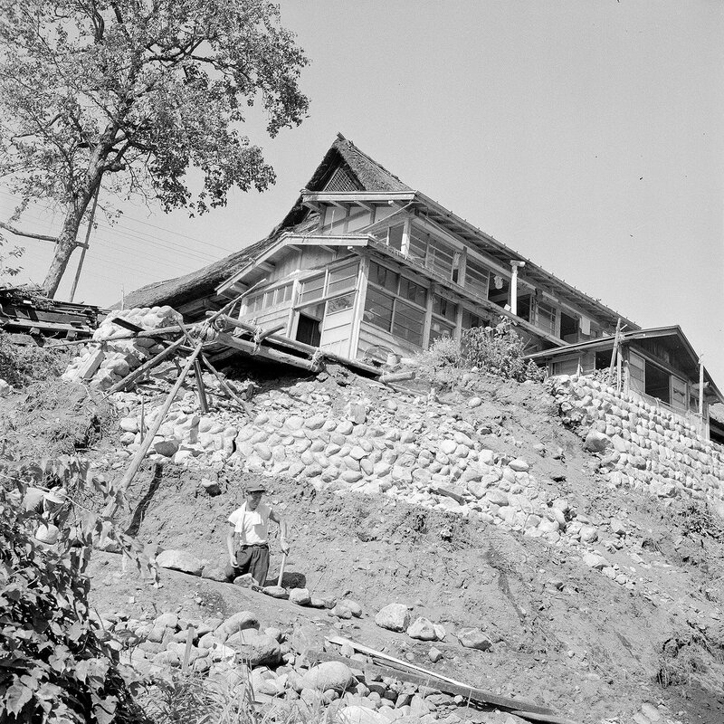 House on a Hill Construction - 1950s Japan
