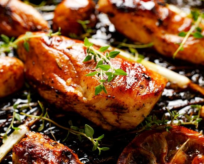 Шашлык из куриной грудки с соевым соусом