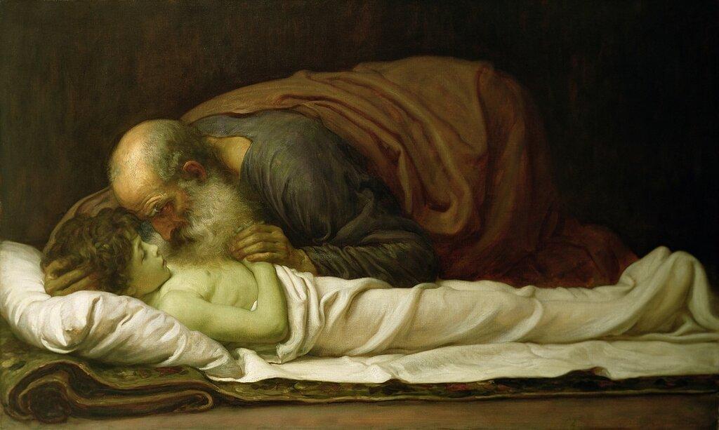 """Фредерик Лейтон """"Пророк Илья, воскрешающий сына Сарептской вдовы"""", 1881 год."""