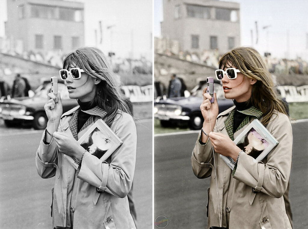 Black and white photo of Francoise Hardy on the set of Grand Prix colorized