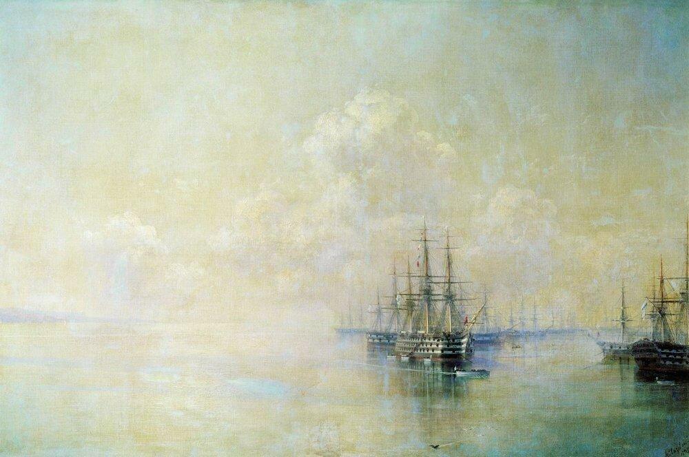 Эскадра Черноморского флота перед выходом на Севастопольский рейд. 1895.jpg