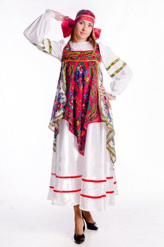 Женский карнавальный костюм Народный с платками