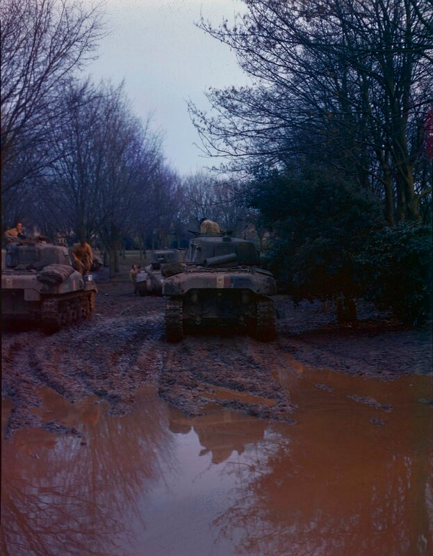 Canadian Ram Mk I tanks on the road during the maneuvers in Canada 1944