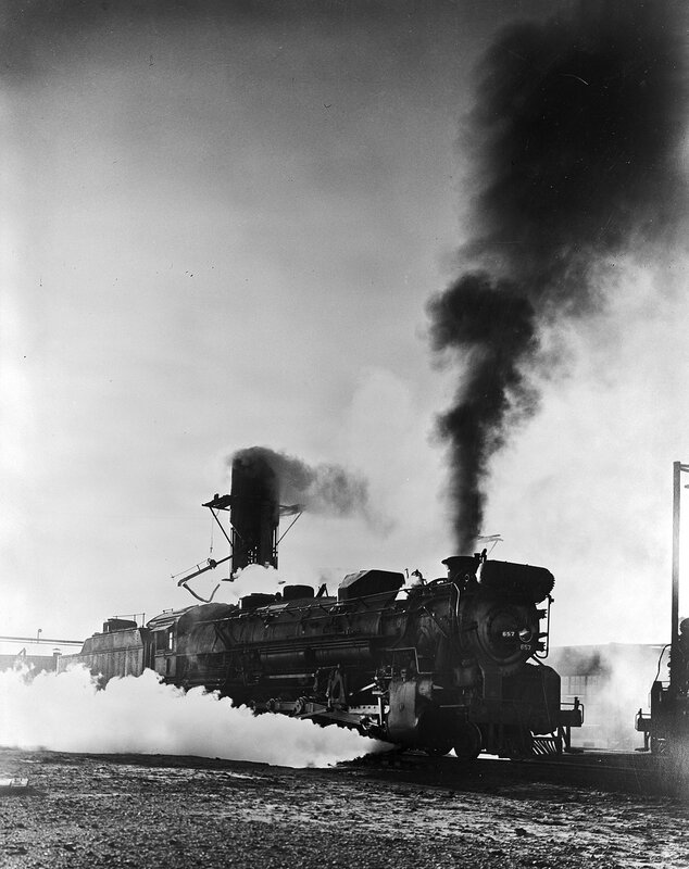 Locomotives 657, Building Up Steam, Texas & Pacific Railway Company, Marshall, Harrison County, Texas, ca. 1946