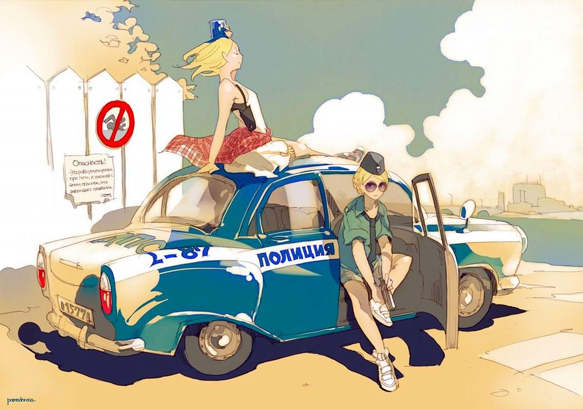 Полицейские сирены из ДПС на старой Волге