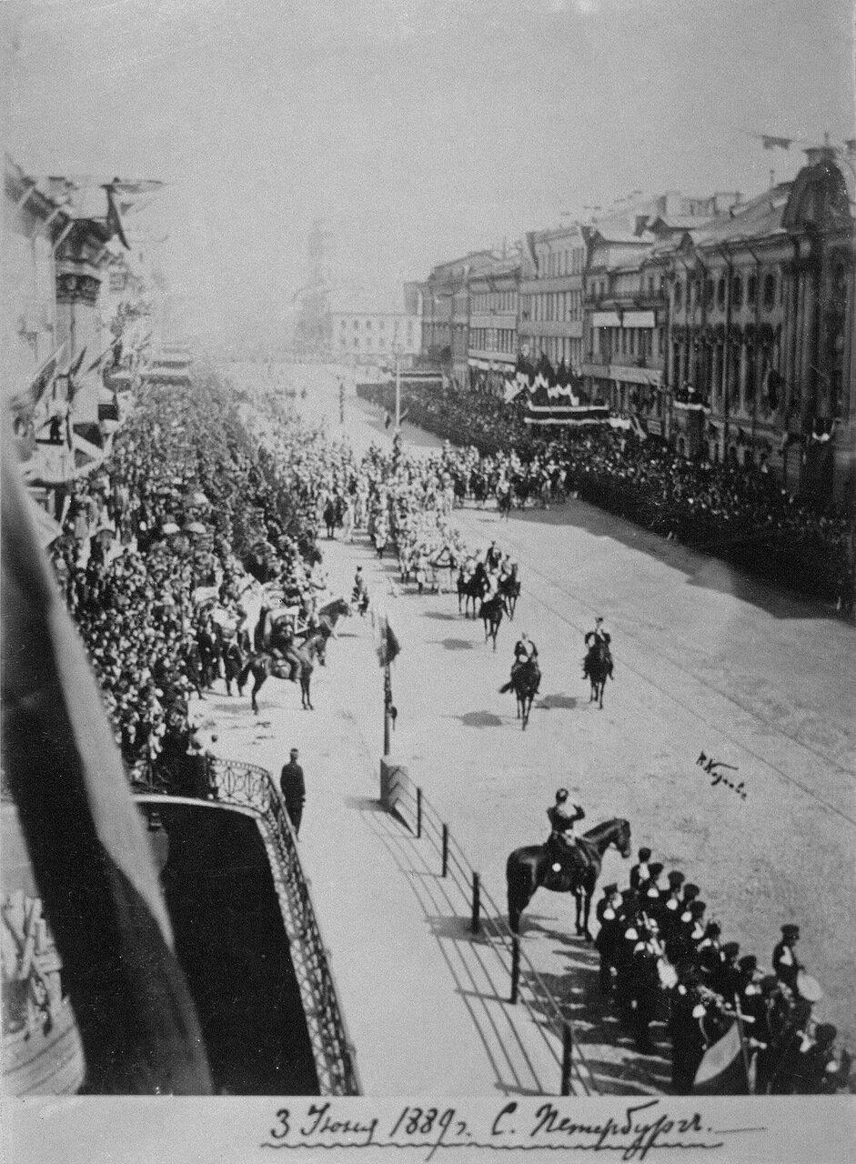 Торжественный въезд в Петербург невесты великого князя Павла Александровича греческой королевы Александры Георгиевны 3 июня 1889 года