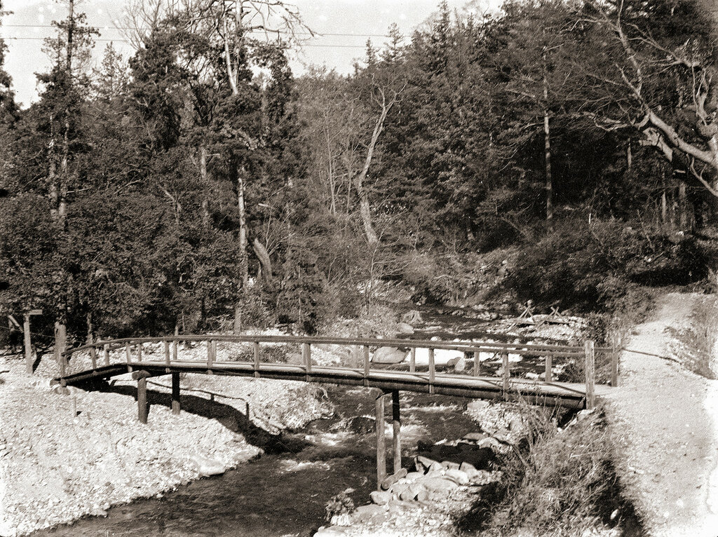 Wooden Walking Bridge Over River, 1930s Japan.