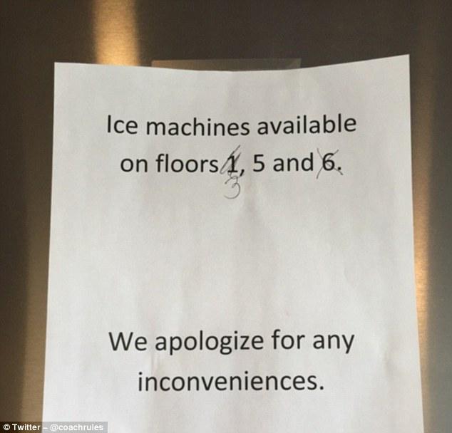 Объявление, сообщающее, что автоматы со льдом есть только на определенных этажах, запутает кого угод