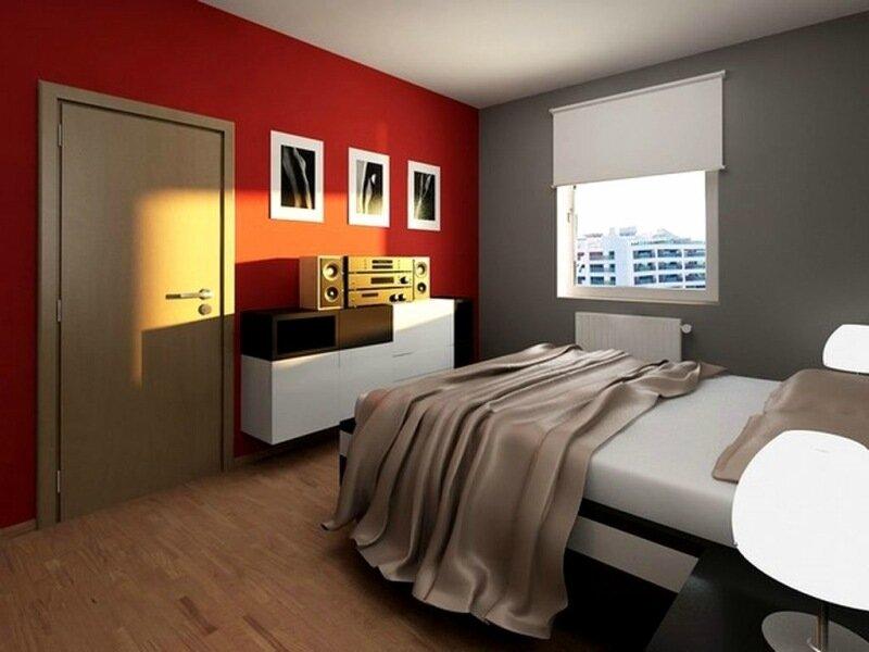 серая спальня с красной стеной