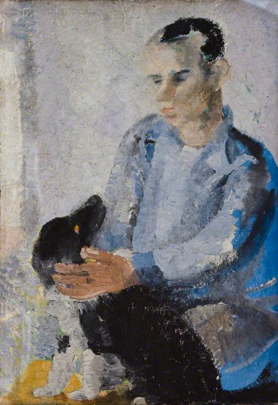 "Ben with Slinky (also known as ""A Portrait of Ben Nicholson with Slinky the Dog"")"