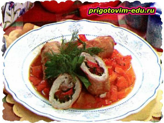 Рулеты из свинины с овощами