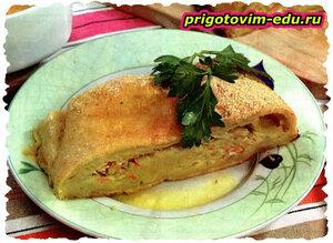 Картофельный рулет с овощами рецепт