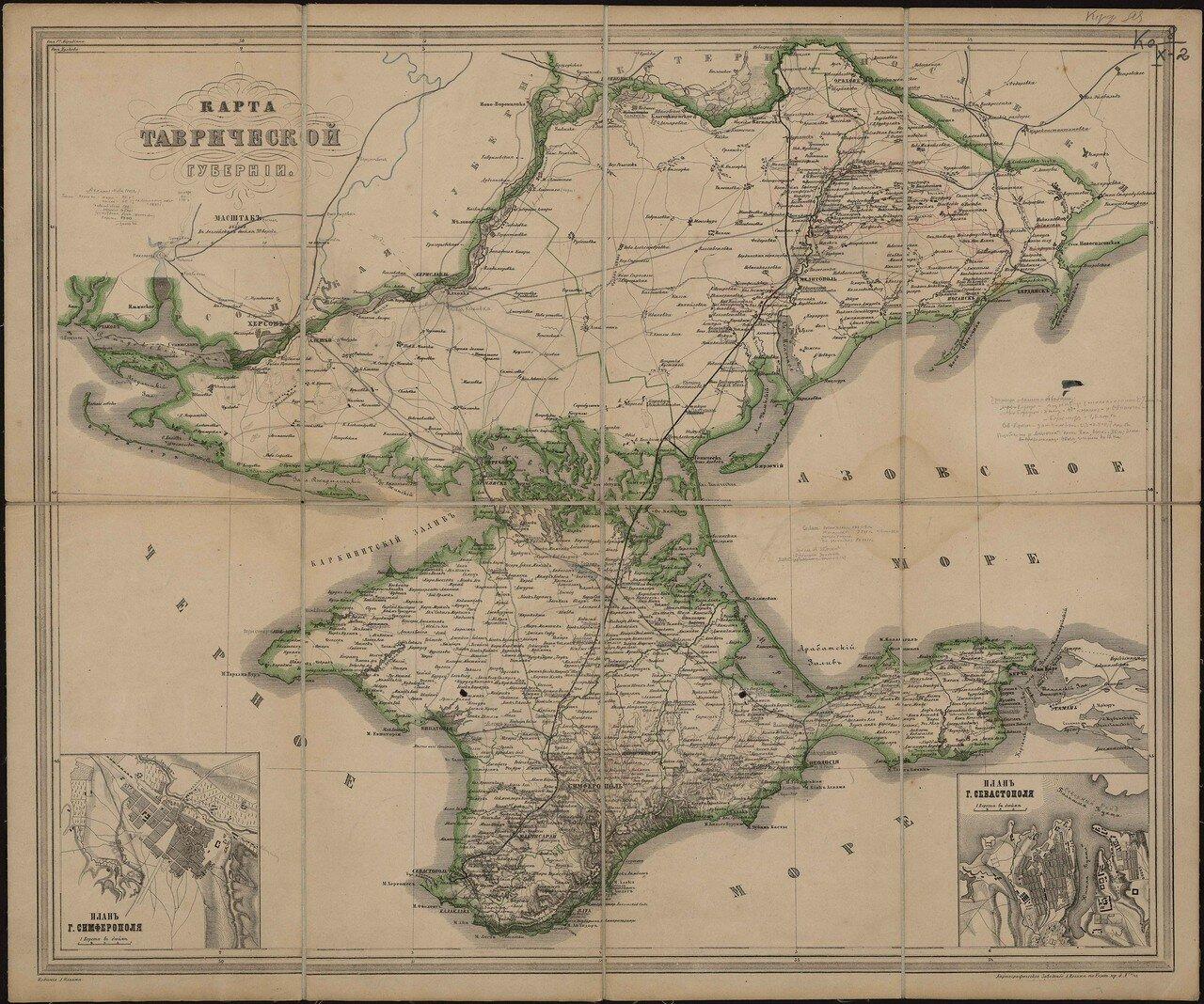 Административная карта Таврической губернии