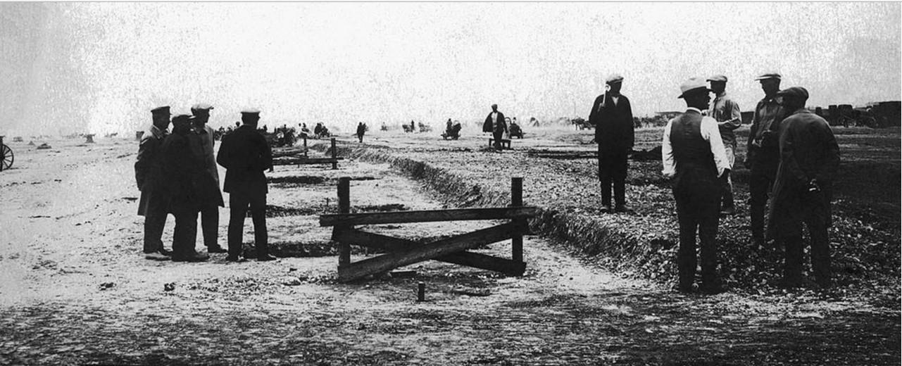 1929. Челябинск. Начало земляных работ по закладке фундамента Челябинского тракторного завода