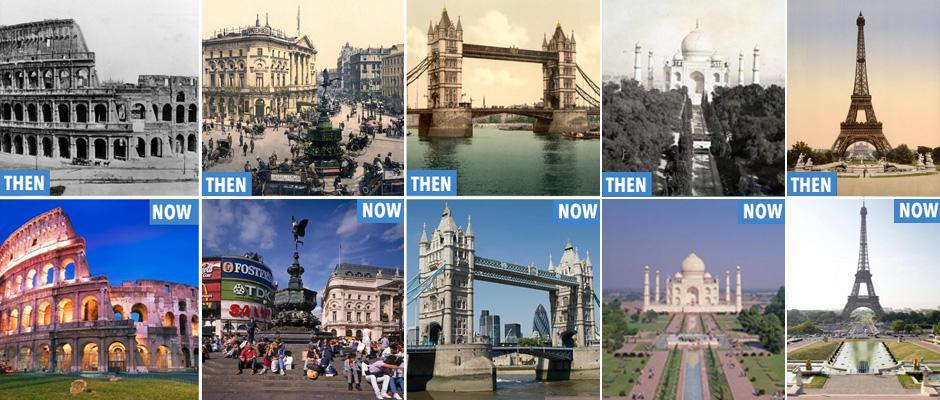 World attractions 100 years ago and now