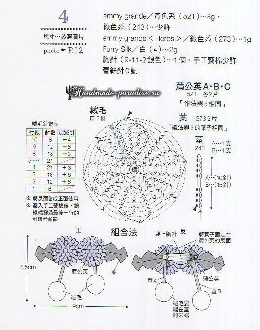 Миниатюрные букетики с хризантемами крючком (5)