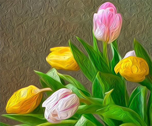 эффект масляной живописи со светом, идущем от правого  нижнего угла