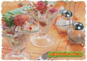 Салат с ветчиной и виноградом