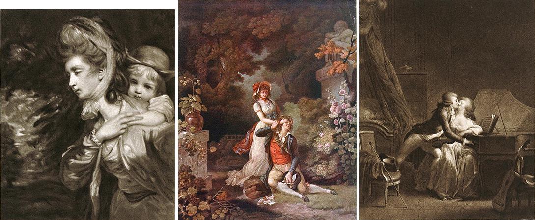 14. J.R. Smith «M-rs Payne Galwey»;  C.M. Descourtis «L'amant surpris»;  A. Chaponnier «Prelude de Nina». Иллюстрации из издания выставка «французской и английской гравюры XVIII века» 1915