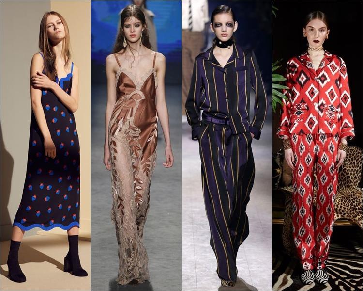 пижамный стиль, платья-ночнушки, мода осень-зима 2016-2017