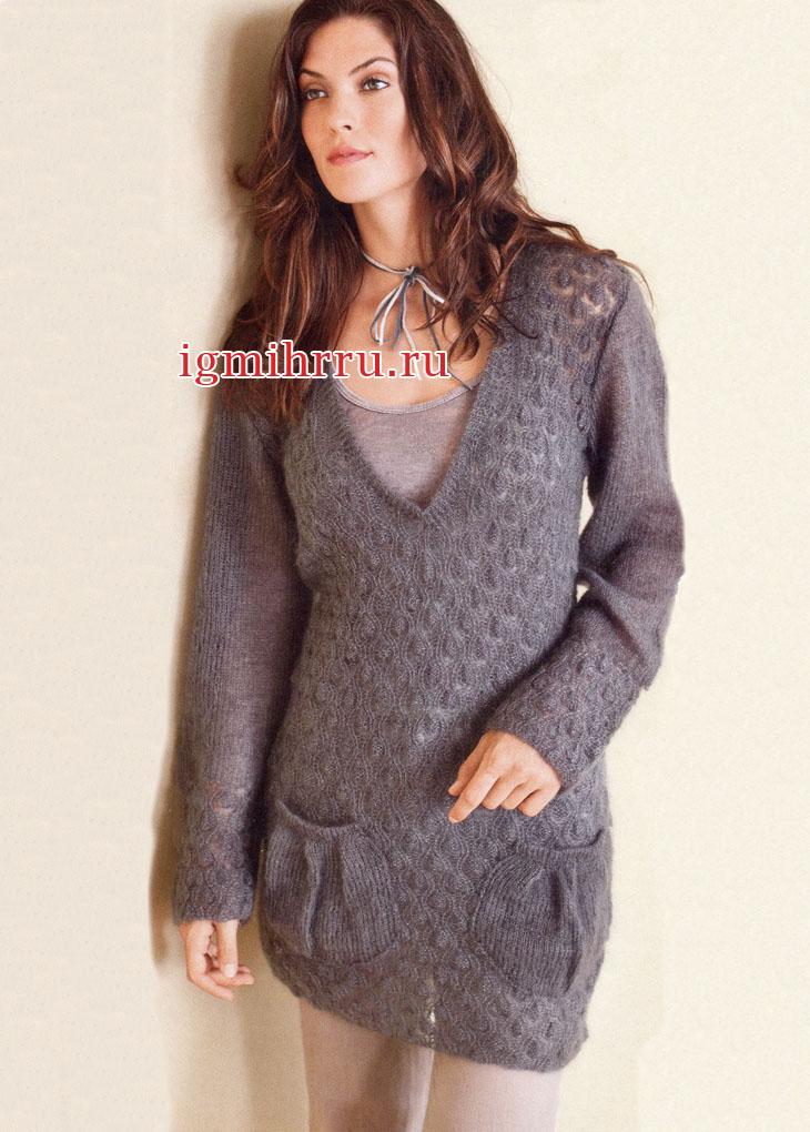 Серый мохеровый пуловер с накладными карманами. Вязание спицами