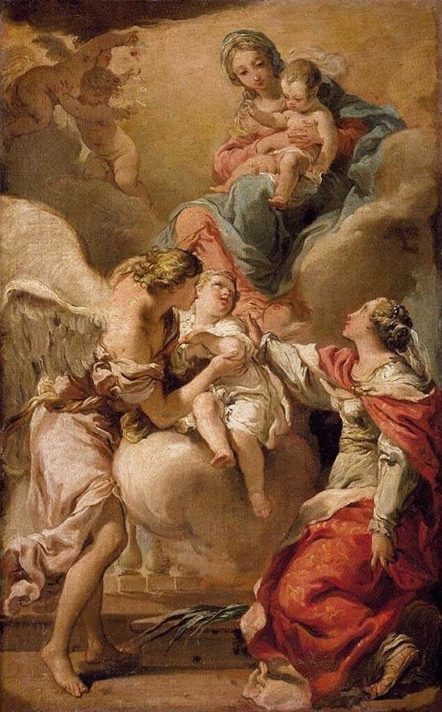 Gaetano_Gandolfi_-_St_Giustina_and_the_Guardian_Angel_Commending_the_Soul_of_an_Infant_to_the_Madonna_and_Child_-_WGA84571792-93.jpg