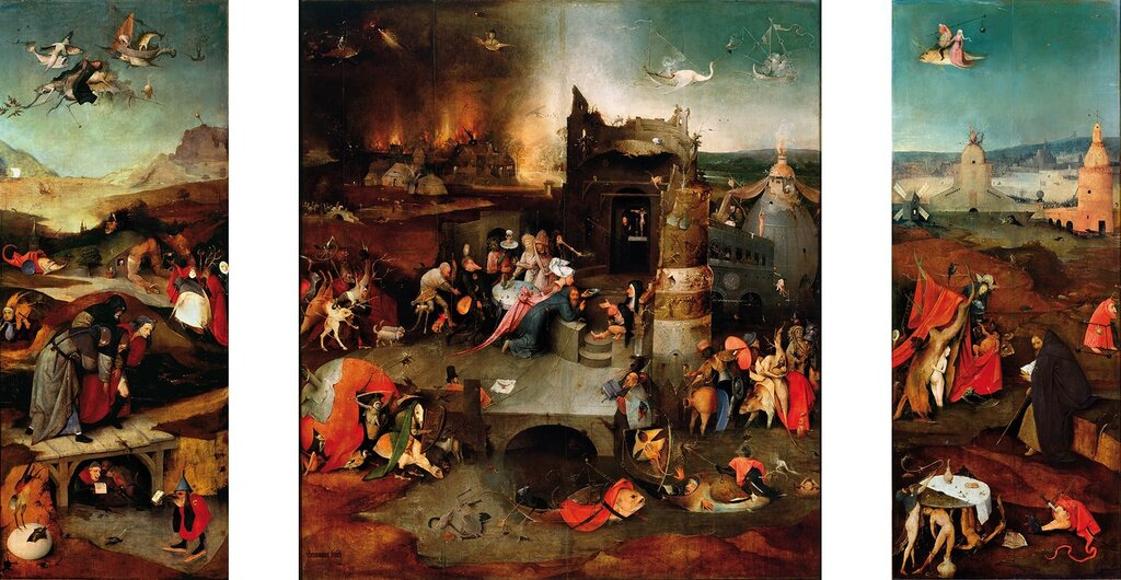 26.4.Триптих 'Искушение св.Антония' (между 1495 и 1515) (131 х 238) (Лиссабон, Нац. музей старого искусства). ОТКРЫТ.jpg
