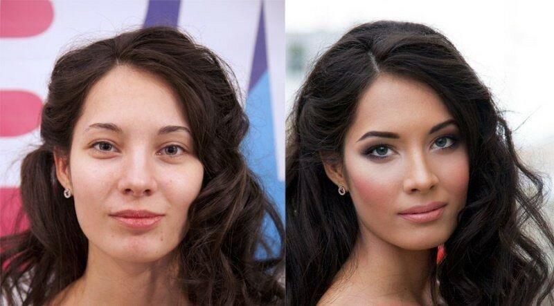 Как макияж меняет женщину   фотографии «до и после»