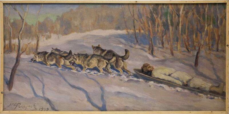 Флёров К.К. «Перевозка раненых ездовыми собаками»