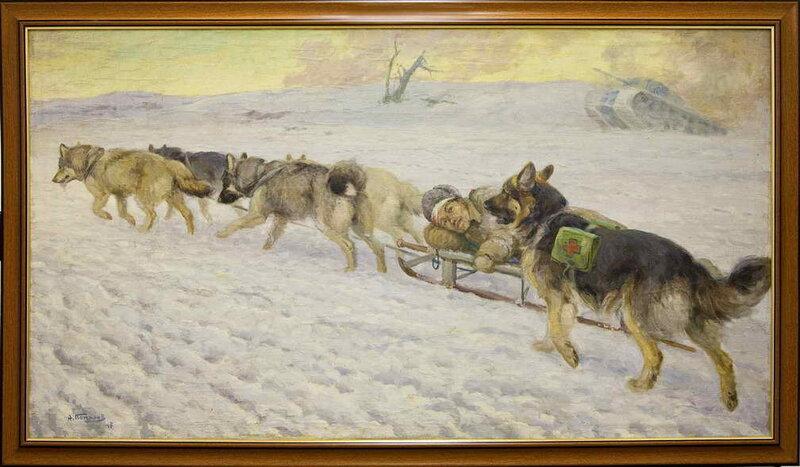 Комаров А.Н. «Перевозка раненого нартовыми собаками»