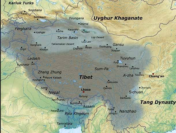 Тибетская империя занимала более 3% территории всего мира к 800 году. В то же время с Запада про